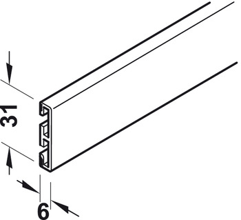 Design bar profile, For optical subdividing of the door panel