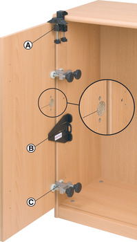 Door drilling set, for hinge doors