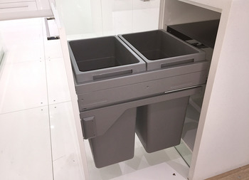 Double-bin or four-bin waste sorter, 2 x 38 litres / 2 x 38, 1 x 12 and 1 x 2.5 litres, Hailo Euro-Cargo 3619-45/50/60