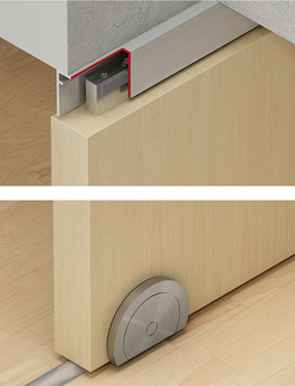 Sliding door fitting with segment circle roller, Slido Design 150-U, set