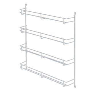 Spice rack, steel, plastic-coated, white