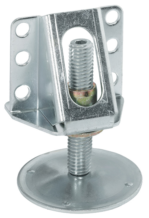 Plinth height adjuster, with supporting bracket, for screw ...