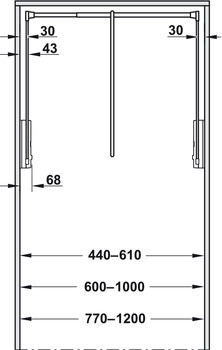 2004 Wardrobe lift, For mounting to side panel, load-bearing capacity 10 kg