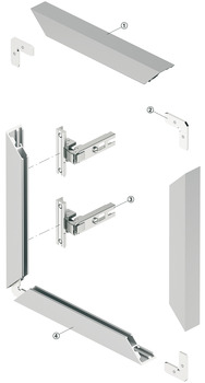 Aluminium glass frame profile, 38 x 14 mm, straight, for glass thickness 4 mm
