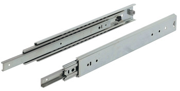 Ball bearing runners, full extension, load-bearing capacity up to 129 kg, steel, side mounting