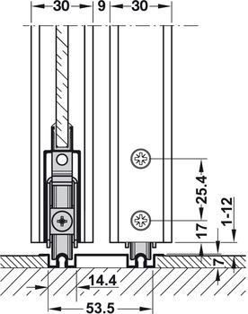 Centre guide, for complete slope