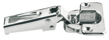 Concealed hinge, stainless steel, half overlay/twin mounting