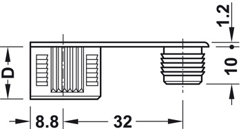 Connecting bolt, S20, Rafix 20 system, with M6 thread
