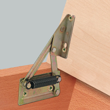 Corner bench hinge, for wooden seat panels, with spring