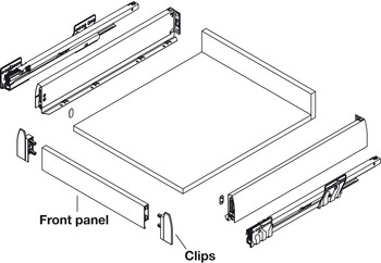 Crystal Front Panel Profile, 1150 mm, for Nova Pro Internal Pan Drawer with Glass Side and Front