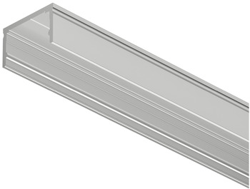 Designer profile for surface mounting, profile height: 12 mm, Total height including linear lens: 13 mm, With strip light recess