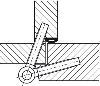 Drill-in hinge, Startec Fl 3, For rebated interior doors up to 80 kg