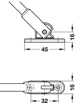 Flap stay with braking mechanism, For wooden flaps, with joint
