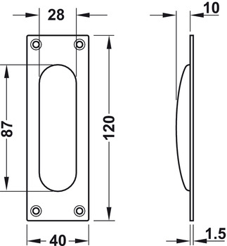 Flush pull handles for sliding doors