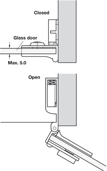 Glass door hinge, Opening angle 170°, inset mounting