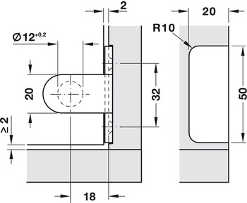 Glass door hinge, Semi-circular, opening angle 180°, inset mounting