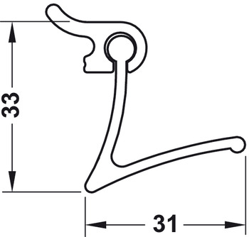 Guide track, For Labos wall system, with 3 narrow hooks