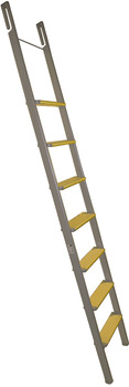 Hook-in ladder, Aluminium, steps: Laminated veneer wood, beech