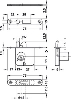 Mortise lock case, For fixed plate cylinder, backset 22 mm