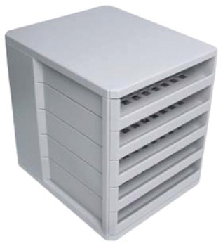 Multi-tray unit, with 5 stationary trays, grey