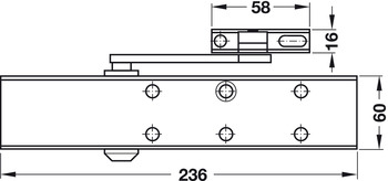 Overhead door closer, DCL 51 with standard arm