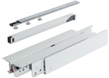 Pull-out cabinet runners, full extension, load-bearing capacity up to 200 kg, steel/plastic