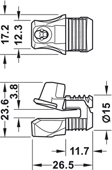 Rear panel connector, Ixconnect RPC S 15/25, for screw fixing from the front