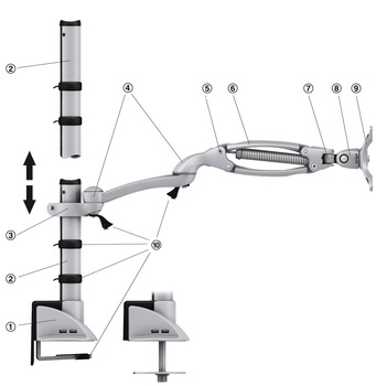 Short flat screen arm, ellipta, with Universal post