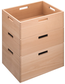 Stacking box, beech, clear lacquered