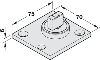 TS 137B pivot bearing, With flat conical pivot, Geze