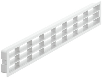 Ventilation grill, plastic, with fixing clips, with louvres